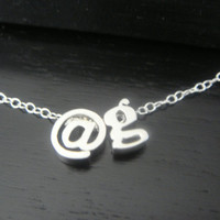 Lowercase Initial and @ sign Necklace, Alphabet Letter Charm Necklace, Customed Name necklace, Personalized Name Necklace, Letter