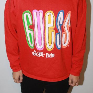 RAD Vintage 1989 Vibrant Guess Sweatshirt Tagged One Size
