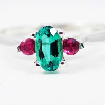 Small Emerald Oval and Ruby Accent Ring Sterling Silver, May Birthstone Ring, July Birthstone Ring, Emerald Oval Ring, Ruby Accent Ring