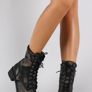 Dollhouse Camouflage Round Toe Lace Up Combat Boots