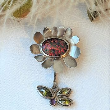 One of a Kind Unique Artisan Sterling Silver Opal Peridot Amethyst Flower Pendant