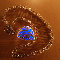 Glow in the Dark Jewelry - Blue Glowing Necklace - Pendant - Gifts for Her - Birthday Gift - Heart