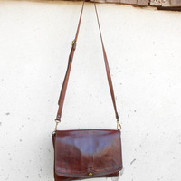 Vintage THE BRIDGE Chestnut Brown Leather Purse , Crossbody , Shoulder Bag // Small-Medium // Made in Italy