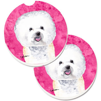 Pink Bichon Frise Set of 2 Cup Holder Car Coasters SC9135PKCARC