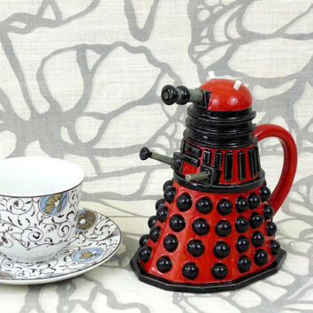 Dalek Creamer: highly detailed sci-fi inspired ceramic pitcher