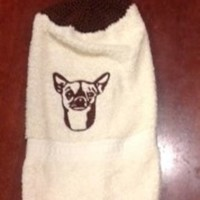 Embroidered Cheeky Chihuahua Dog Hanging Dish Towel With Hand Knitted Topper and Ties