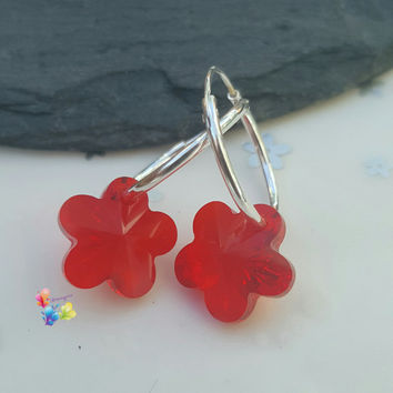 Bright Red Flower Earrings, Sterling Silver Earrings, Crystal Jewellery, Gift for Her, Flower, Crystal Earrings, girlfriend, light siam ruby
