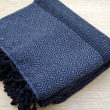 Gray and black colour Turkish cotton beach towel, bath towel, spa towel, baby's blanket.