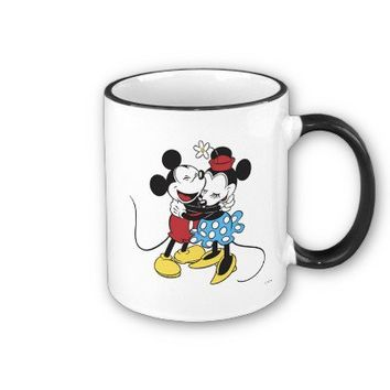 Antique Mickey and Minnie Mouse hugging laughing Mugs from Zazzle.com