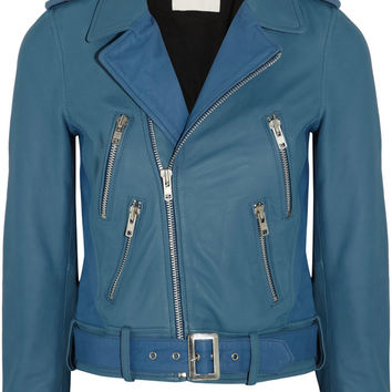 Maje Adder two-tone leather biker jacket – 60% at THE OUTNET.COM