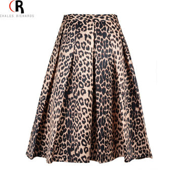 2016 Spring New Women Satin Leopard Print High Waist Pleated Long Puff Midi Skirt Size S XL Large In Stock Free Shipping