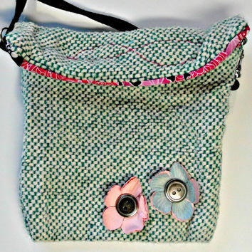 Small handwoven shoulder bag, purse, pocketbook teal white pink blue flower embellished and flap closure