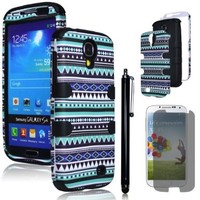 Bastex Hybrid Case For Samsung Galaxy S4 - Black Silicone / Aztec Tribal Hard + Screen Protector & Stylus
