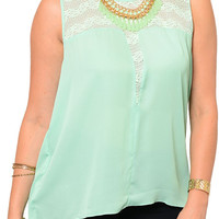 Mint Plus Size Sexy Sheer Shimmery Split Back Sleeveless Top