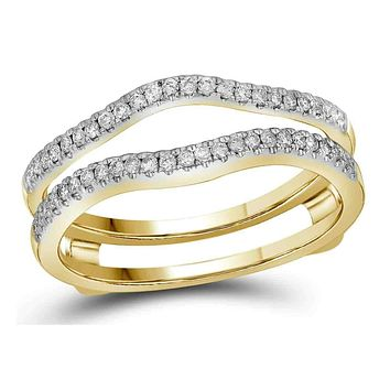 14kt Yellow Gold Women's Diamond Ring Guard Wrap Solitaire Band Enhancer 1/4 Cttw - FREE Shipping (US/CAN)