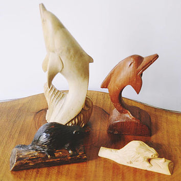 Vintage Wood Carvings, Wood Animal Carvings, Dolphin Carvings, Beaver Carvings