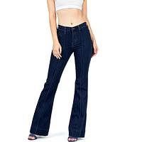 Pin Tuck Bell Bottom Jeans