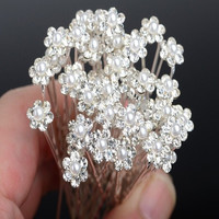 20Pcs Wedding Bridal Pearl Flower Crystal Hair Pins Clips Bridesmaid = 1931830660