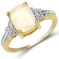 14K Yellow Gold Plated 1.16 Carat Genuine Ethiopian Opal & White Topaz .925 Sterling Silver Ring
