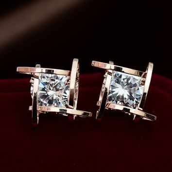 Diamond In Grid Rhinestone Earrings