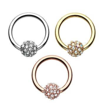 Rose Gold, Gold, Silver Full Dome Pave Steel Captive Bead Ring