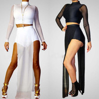 Sexy SET Long Sleeve short pants Women's jumpsuit romper bandage bodycon dress