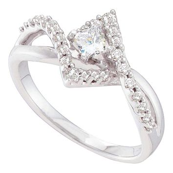 14kt White Gold Women's Princess Diamond Solitaire Twist Bridal Wedding Engagement Ring 1/2 Cttw - FREE Shipping (US/CAN)