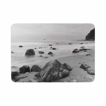 "Nick Nareshni ""Water Moving Around Rocks"" Gray Black White Memory Foam Bath Mat"