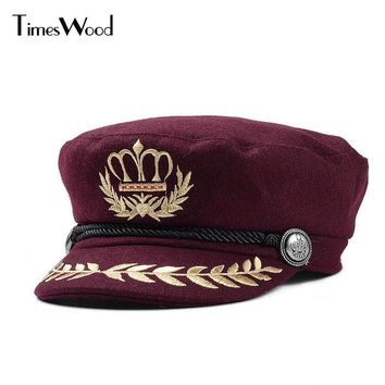 Wool Felt Womens Military Hats Army Navy Types Party Queen Caps For Women Winter American Embroidery Wheat Custom Crown New Hat