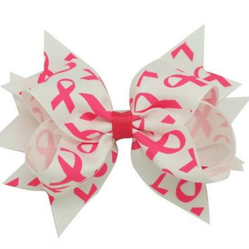 Breast Cancer Spike Ribbon Hair Bow