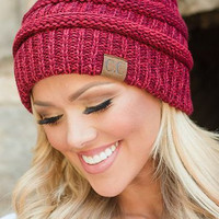 CC wool knitted cap - outdoor warm hat Rust Wine red