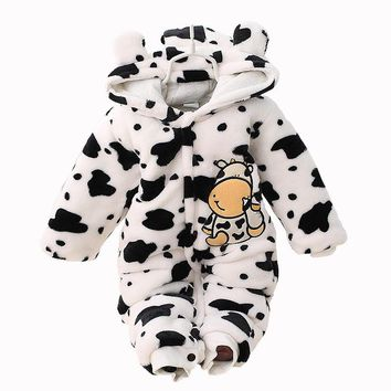 Baby Warm Romper Flannel Recem Nascido New Born Jumpsuit Hooded Winter Overalls Cow Dot 3 Colors 0-2T Baby Warm Romper New Stlye