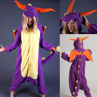 Purple Royal Dragon Spyro Onesuit Hoodie Costume Kigurumi Pajamas