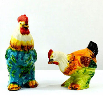 Vintage Country Kitchen Farmhouse Decor Chicken Rooster And Hen Salt And Pepper Shakers Spice Holders