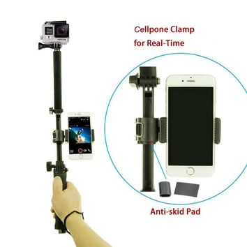 For Gopro Accessories 3 way  Selfie grip arm tripod with phone clamp mount for hero 5/4 session 4 3 SJCAM Xiaomi Yi 2 4k plus