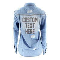 Custom Text Distressed Denim Shirt