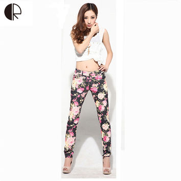 Free Shipping,2015 New Arrival Fashional Women Flower Printed Casual Plus Size 26-32  Long Pencil Pants Jeans,WP004