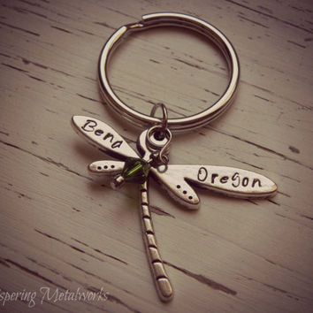 BEND OREGON dragonfly metal stamped key chain - pewter- you choose Swarovski crystal color - with silver plated chain