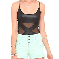 Black Strap Mesh Bodysuit | Hot Topic