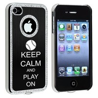 Apple iPhone 4 4S 4G Black S403 Rhinestone Crystal Bling Aluminum Plated Hard Case Cover Keep Calm and Play On Baseball Softball