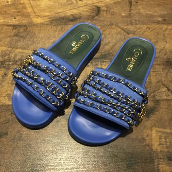 Chanel 2017 Tropiconic Slide Sandals blue