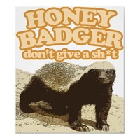 honey badger dont give a shit poster from Zazzle.com