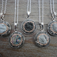 Druzy Set in Silver and Gold Pave Crystals/ Silver Pendant Necklace/Silver Surround/Silver Chain/Choose Your Pendant