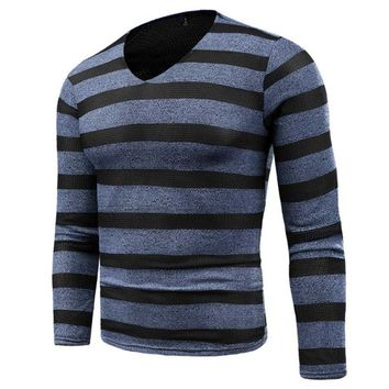 Men Fashion Soft Hand Knit Sweater Autumn Stripes Patchwork V Neck Sweater Pullover Slim Jumper Knitwear Outwear Plus size M-6XL