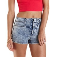 "Refuge ""Hi-Waist Shortie"" Acid Wash Denim Shorts"