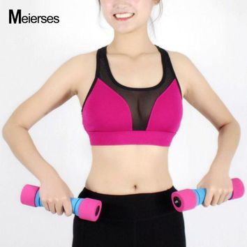 PEAPFS2 MEIERSES Sexy Mesh Patchwork Athletic Vest Fitness Workout Sports Bra Yoga Running Crop Top Breathable Shockproof Active Wear