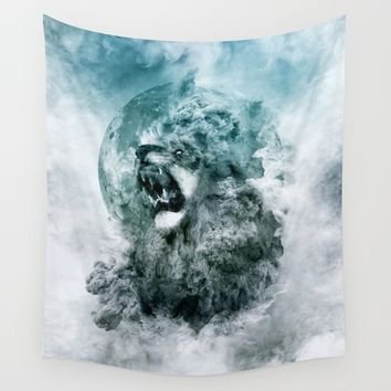 Lion Blue Wall Tapestry by RIZA PEKER