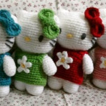 Free shipping, Kitty inspired handmade crochet doll by thujashop on Etsy