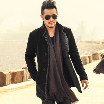 Trendy 2018 PU Leather Jacket Men Long Wool Leather Standing Collar Jackets Coat Men Leather Jackets With Fur Trench Parka AT_94_13