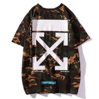 Off White New fashion letter cross arrow print camouflage couple top t-shirt